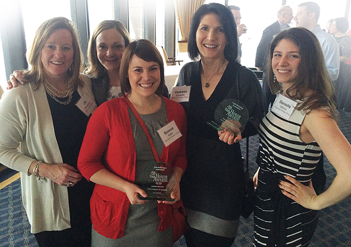 From left to right: Our clients Jill Mastrianni, CMO, and Jennifer Stokes, Director of Marketing, both of Shipman & Goodwin LLP, with Bonnie, Vanessa and Danielle celebrating our awards at the LMA Your Honor Awards.