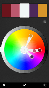 Tap color on top, drag dots and turn wheel at the edge to lighten or darken.