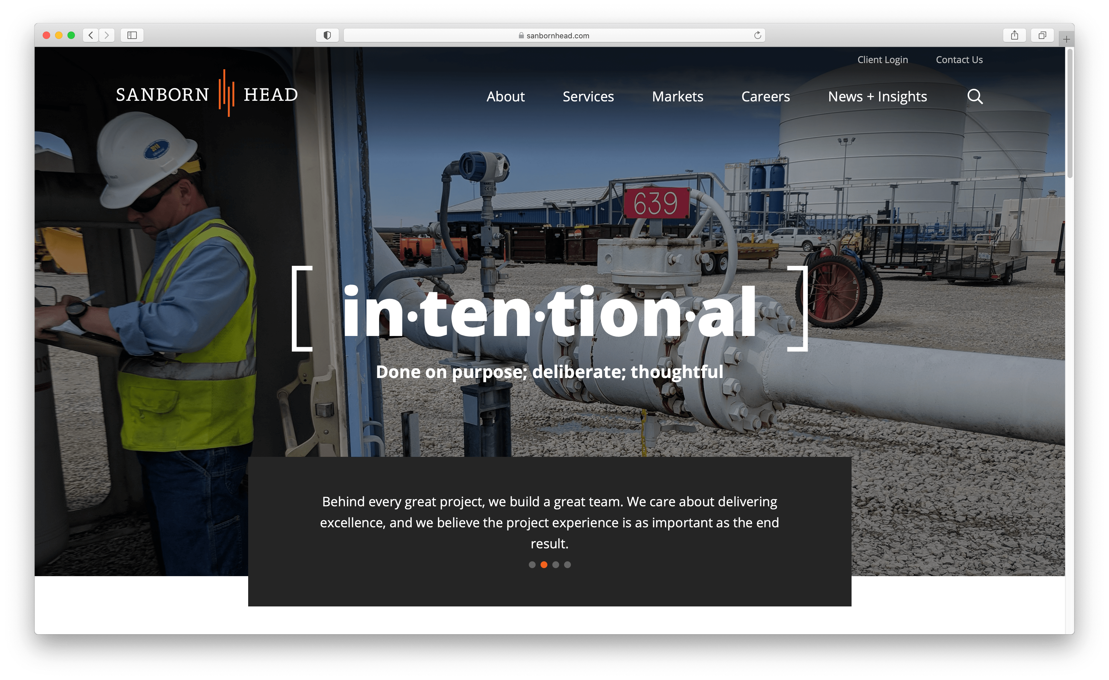Sanborn Head Homepage is centered horizontally, which shows a symmetrical layout.