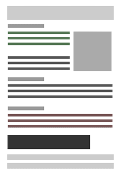 CLEAR HIERARCHY Headers, different type size and color, and spacing create a much easier way for the viewer to find the specific information they are looking for.