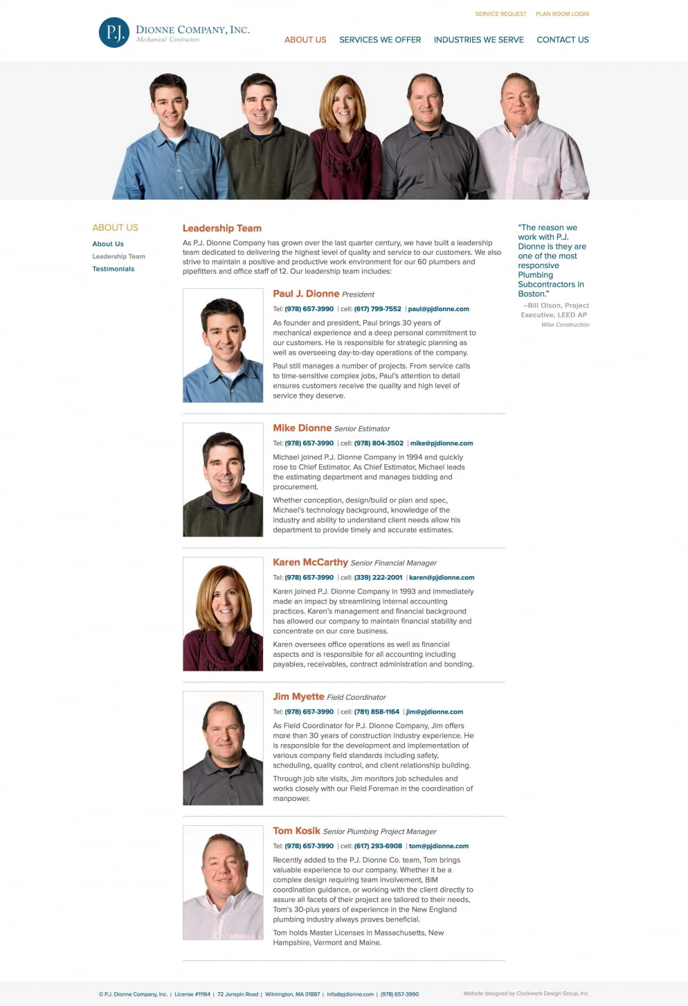 Pj Dionne Leadership Page