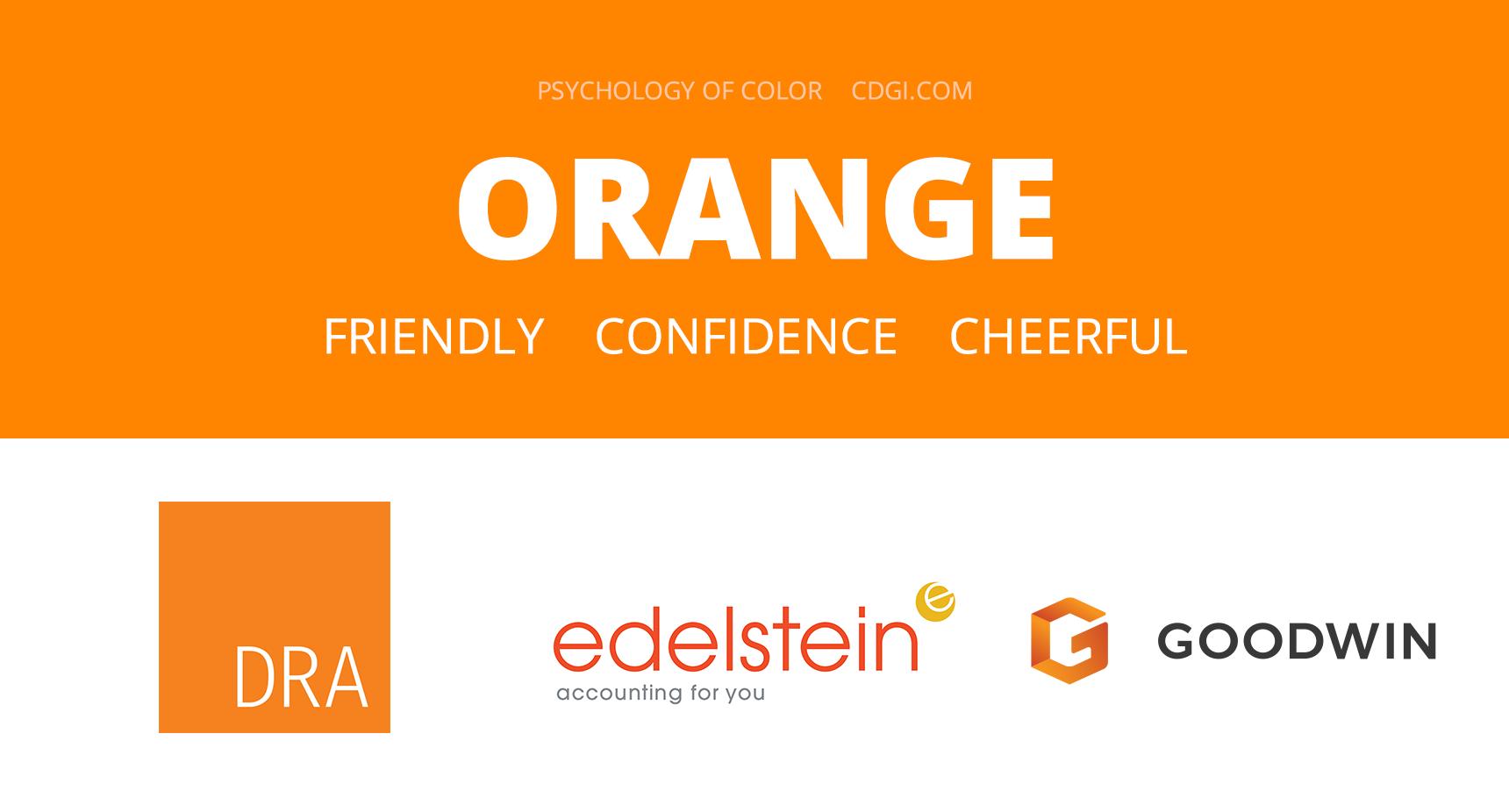 Orange: Friendly, Confidence, Cheerful